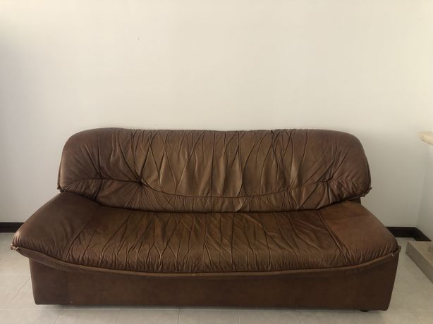 Conjunto de 3 sofás em pele genuína, castanho