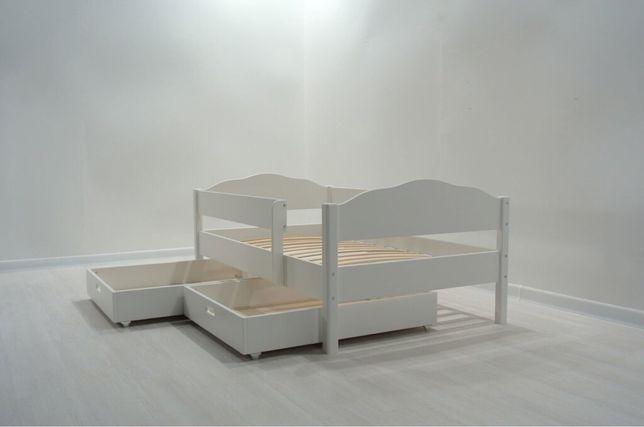 Кровать детская , белая с бортиком , дитяче ліжко