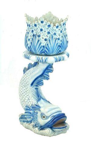 Vaso com coluna em cerâmica - peça antiga (para decoração)