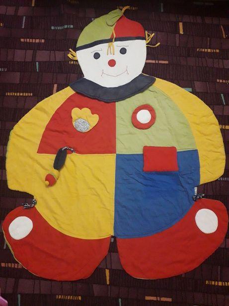 Игровой развивающий коврик, плед для игр мягкий клоун-нянька