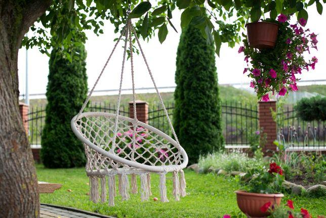 Huśtawka fotel ogrodowy wiszący bocianie gniazdo z oparciem NOWY wys.