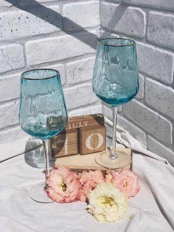Бокал для вина из голубого стекла