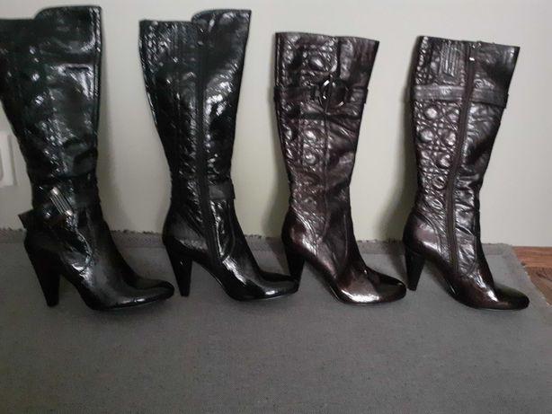 Nowe Kozaki lakierowane 39/40 szpilki lakierki wysokie brązowe czarne