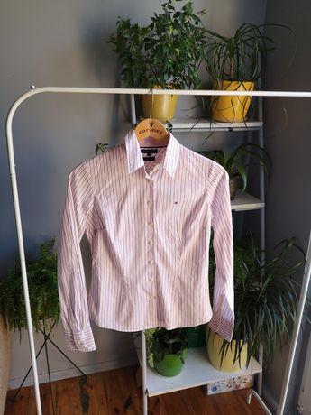 Koszula w paski tommy hilfiger xxs 32 4 stretch paseczki th biała