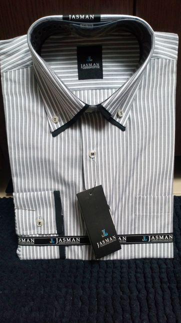 Nowa koszula męska modna elegancka z długim rękawem r. S XL szara hit