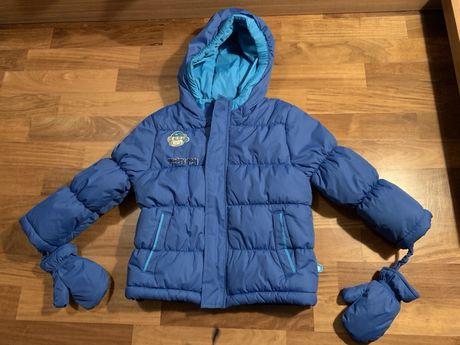 Kurtka zimowa Cocodrillo 98 niebieska z rękawiczkami nowa
