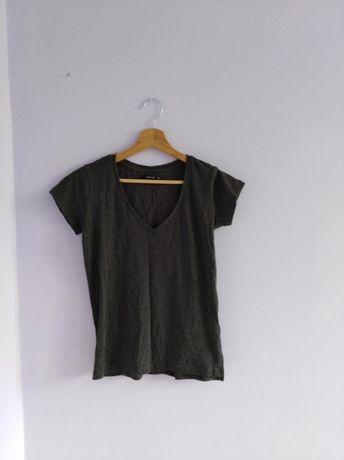 Szara wygodna bluzka z krótkim rękawem Reserved t-shirt dekolt v 34 XS
