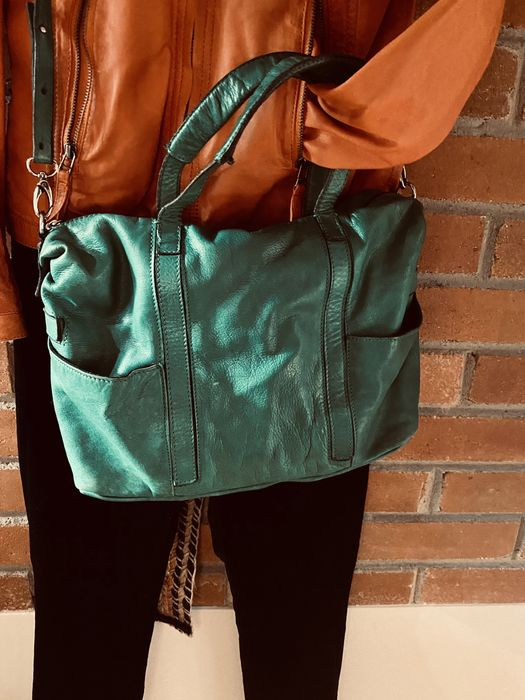 ZARA sliczna zielen torba skorzana Magdalenka - image 1