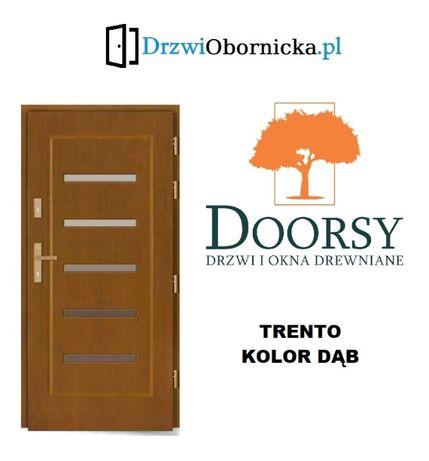 Drzwi DOORSY TRENTO drewniane zewnętrzne wejściowe 100mm grubości