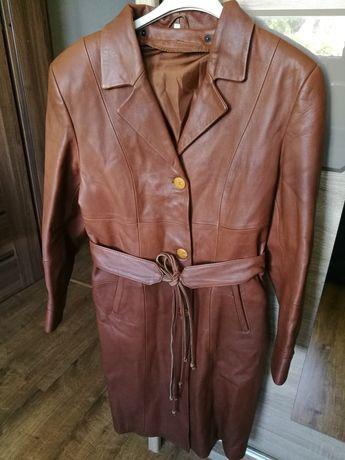 Skórzany płaszcz kolor brązowy Adamczyk M/L