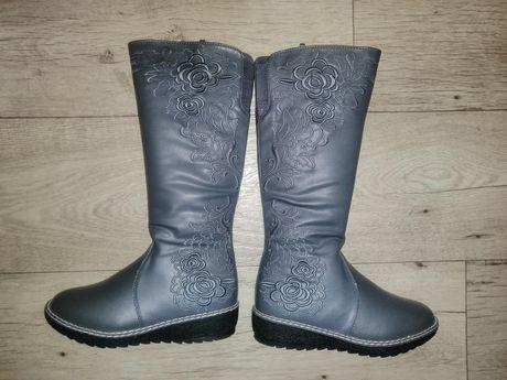 Сапоги, сапожки, ботинки, ботиночки высокие с вышивкой, зимние