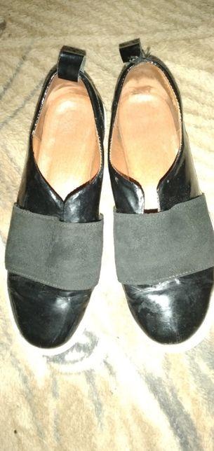 Мокасины туфли слипоны кожаные 23 см