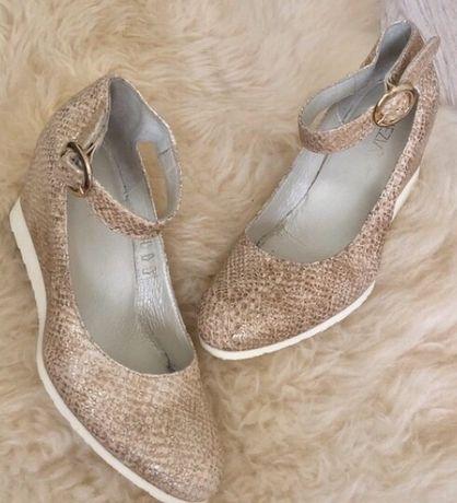 Beżowo złote buty venezia rozm. 37