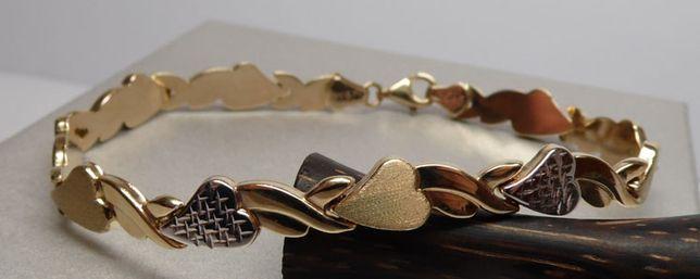 Złota dwukolorowa bransoletka serca 19 cm.