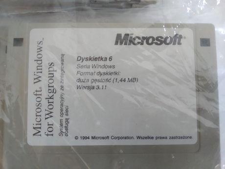 Microsoft Windows 3.11 Zapakowany Komplet 10 dyskietek Rarytas