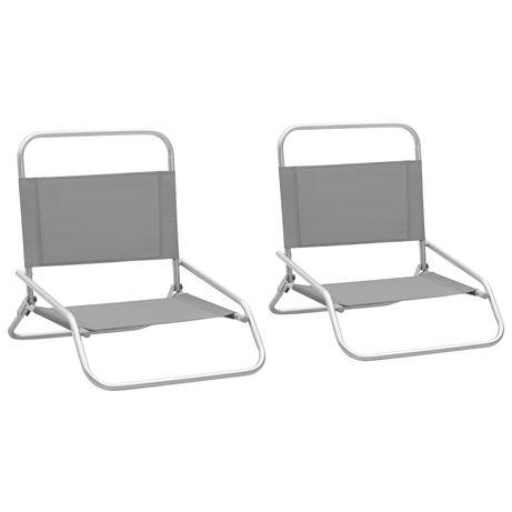 vidaXL Cadeiras de praia dobráveis 2 pcs tecido cinzento 310368