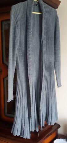 sweter kardigan długi za kolana rozmiar M / L szary