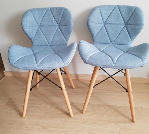 Dwa krzesła tapicerowane jasno niebieskie NOWE Katowice