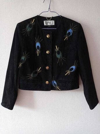 Винтажная замшевая кожаная куртка жакет Dino'z 80-е годы  ретро L M