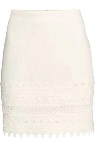 Biała bawełniana na lato spódnica z koronką H&M 44/XXL