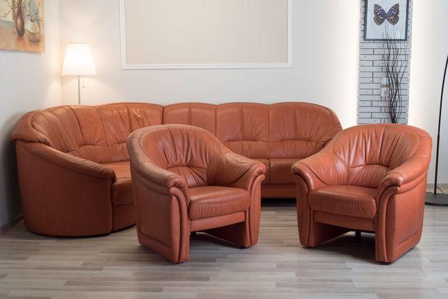 Skórzany narożnik + 2 fotele
