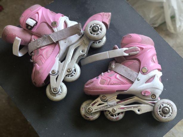 Велосипед детский розовый, ролики розовые