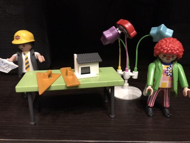 Playmobile figurki budowniczy, klaun, pizza