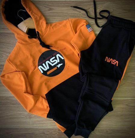 Премиум мужские спортивные костюмы трехнитка NASA. Котфа-худи+штаны