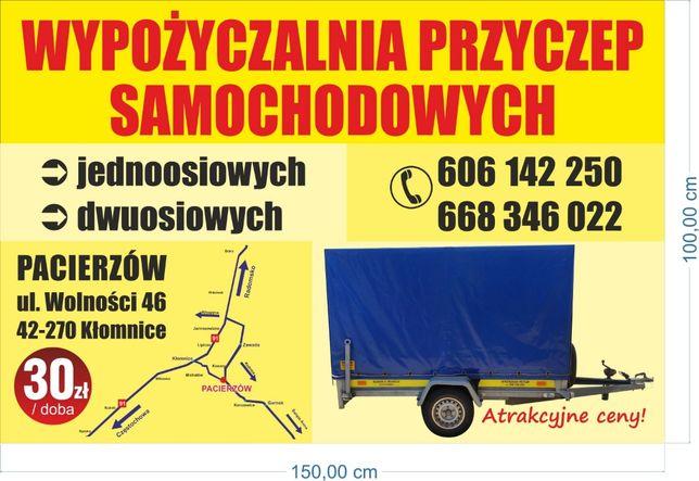 Wypożyczalnia przyczep samochodowych Częstochowa Kłomnice Radomsko