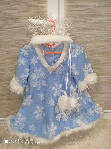 Платье костюм снежинки и сапожки , снегурочки , снежной королевы