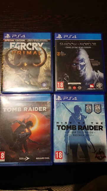 Gry PS4, Rise of Tomb raider, shadow of mordor, far cry primal