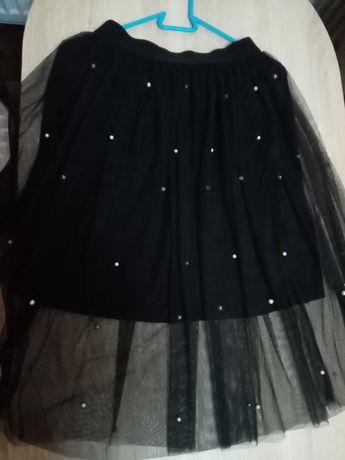Spódnica czarna perełki szyfon