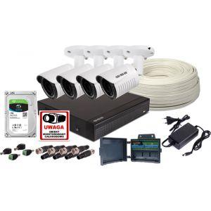 Zestaw do monitoringu 4 kamery fullHD rejestrator samodzielny montaz