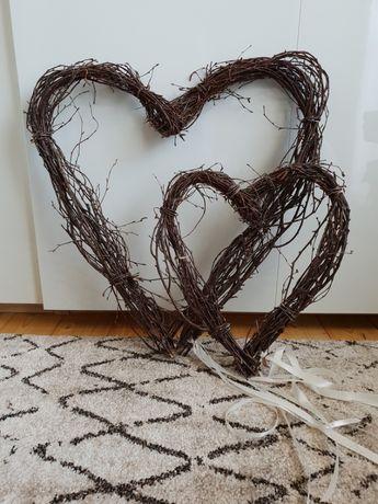Wiszące dekoracje rustykalne, serce z gałęzi, serce drewniane, kpl