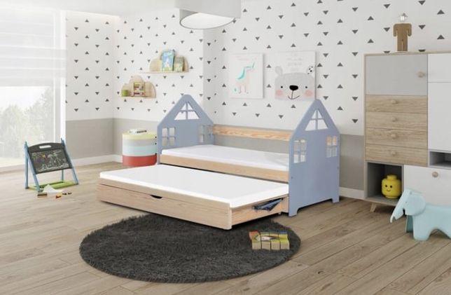 Łóżeczko dla dzieci DOMEK dwuosobowe + 2x materac w zestawie