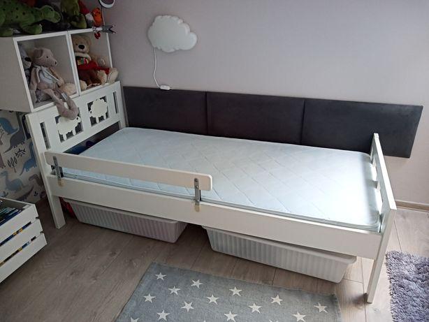 Łóżko dziecięce z barierką,materacem i pojemnikami
