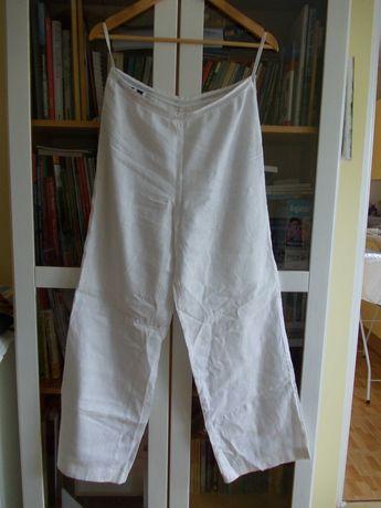 spodnie białe lniane