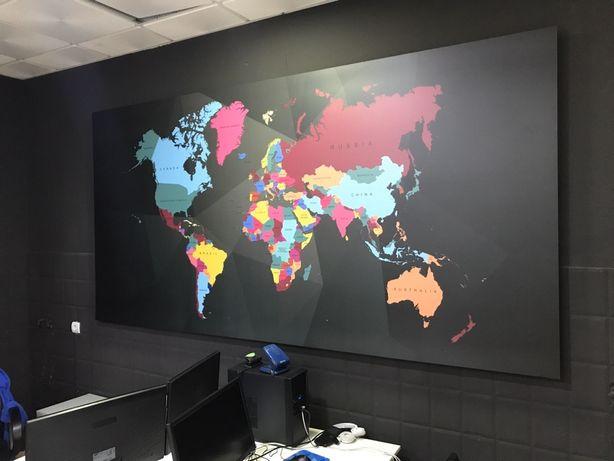 Quadro Mapa Mundo 300x150cm
