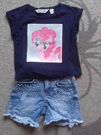 Нереально крутой комплект джинсовые шорты-футболка на девочку 6-7 лет