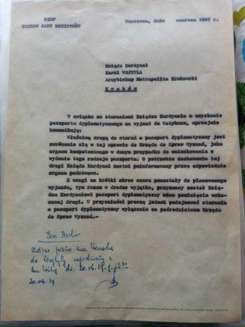 Reprint wydania zgody Wojtyle na odebranie paszportu 1967r