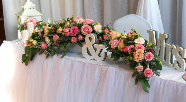 Napis na stół M. P.dekoracja wesele, ślub Mr&Mrs