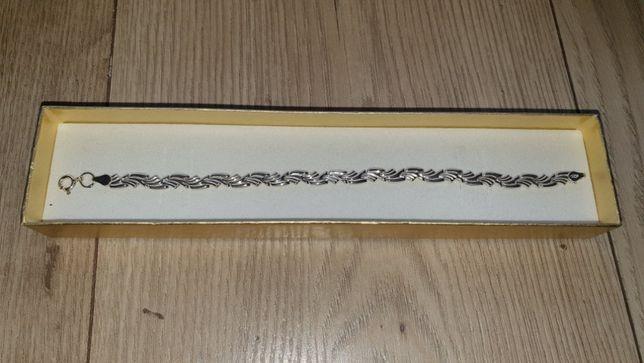 Nowa srebrna bransoletka/łańcuszek na rękę próba 525 + pudełko prezent