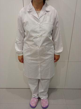 Saúde - Calça e bata branca de manga comprida L/XL