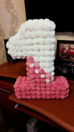 Единичка и кубики на день Рождения для девочки Киры