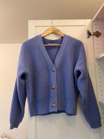 Lawendowy sweter ciepły krotki Zara L kardigan