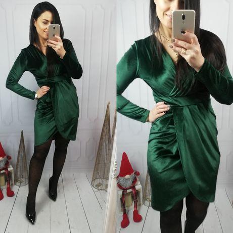 Piękna Welurowa sukienka w kolorze butelkowej zieleni. ŚWIĘTA
