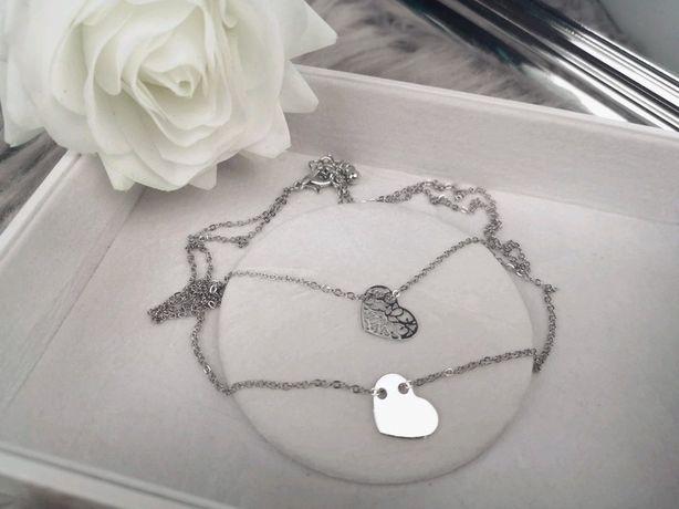 Podwójny naszyjnik celebrytka srebrny serduszko serduszka łańcuszek