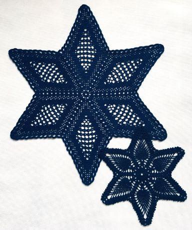 Gwiazda Boże Narodzenie serwetka szydełkowa na szydełku 53cm