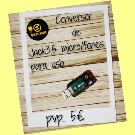 Conversor Jack 3.5 micro/fones para usb
