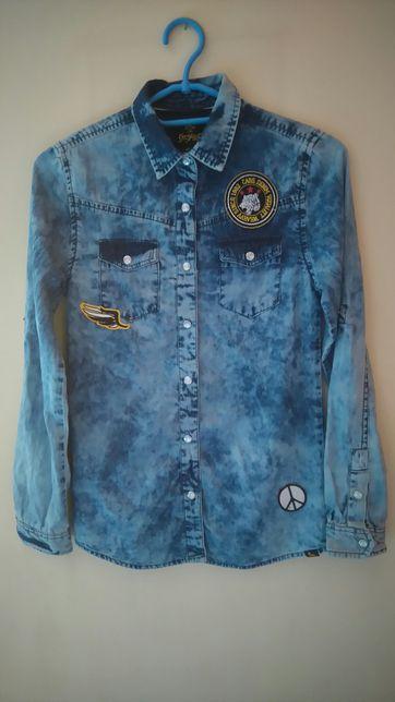 Koszula jeansowa / marmurkowy jeans rozm.158 - 164